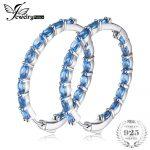 JewelryPalace Huge13.5ct Blue Topazss <b>Earring</b> Hoop 925 <b>Sterling</b> <b>Silver</b> Fine Jewelry For Women Or Girl 2018 luxury Jewelry