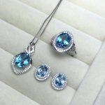 MeiBaPJ Classic Natural Blue Topaz Jewelry Set 925 <b>Silver</b> 3 Siut Fine Jewelry Wholesale recommendation