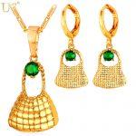 U7 Sets Lattice Bag Pendant Necklace & Drop Earrings With Green CZ/Gem Gold Color Papua New Guinea PNG Women <b>Jewelry</b> Set S856