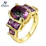 CZ purple stone K fine Gold-color women rings New Fashion zircon <b>Jewelry</b> wholesale factory <b>supply</b> customized design ok