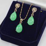 Prett Lovely Women's Wedding wholesale noble new <b>jewelry</b> 12*16mm green gem earring & chain pendant <b>jewelry</b> set silver <b>jewelry</b>