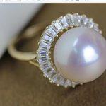 Women Gift word 925 <b>Sterling</b> <b>silver</b> real A large natural pearl <b>ring</b> 14 carat gold <b>ring</b> luxury 13 mm light pearl <b>ring</b> domineering