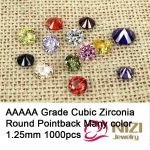 AAAAA Grade Pointback Cubic Zirconia Stones <b>Supplies</b> For <b>Jewelry</b> Accessories 1.25mm 1000pcs Round Beads 3D Nail Art Decorations