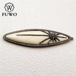 FUWO Natural Ox Bone Carve Micro Pave Marquise Pendant High Quality Black Gun Plated DIY <b>Jewelry</b> Necklace Making <b>Supplies</b> PD1008
