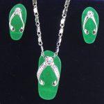 Prett Lovely Women's Wedding fancy design! Shipping slippers-shaped green gem Earring Pendant Chain <b>Jewelry</b> Set silver-<b>jewelry</b>