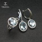 TBJ, Natural Aquamarine gemstone ring and <b>Earring</b> Jewelry set in 925 <b>sterling</b> <b>silver</b> unique gift for women girl daily party wear