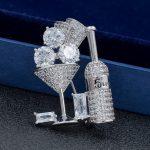 New Fashion Cubic Zirconia Bar Bottle Glass of Wine Party Pin Broach Women Girl <b>Jewelry</b> 0208H