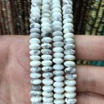 8x4mm Smooth Howlite Rondelle Beads Saucer Spacer Beads Natural White Howlite Gemstone Rondelles Beading <b>Jewelry</b> <b>Supplies</b> 15.5″/
