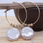 Eternal wedding Women Gift word 925 <b>Sterling</b> <b>silver</b> real The natural pearl <b>earrings</b> shaped flat large Purple Pearl big ear