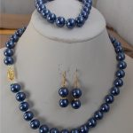 "Prett Lovely Women's Wedding charm Jew.655 10mm Blue Shell Pearl Necklace Bracelet Earring 18"" 7.5"" Set AAA"