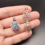 10pcs Bright Silver Creative Lotus Flower <b>Jewelry</b> Making <b>Supplies</b> Alloy Beads Cage Pendant Essential Oil Diffuser Trendy Locket