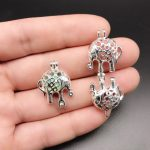 10pcs Silver Lucky Elephant Pearl Cage <b>Jewelry</b> Making <b>Supplies</b> Beads Cage Locket Pendant Essential Oil Diffuser for Oyster Pearl