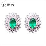 Genuine Zambia emerald stud <b>earrings</b> for wedding 6pcs 2.8 mm*2.8mm SI grade emerald <b>earrings</b> 925 <b>sterling</b> <b>silver</b> emerald jewelry