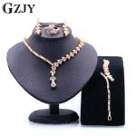 GZJY Fashion Champagne Gold Color AAA Zircon <b>Necklace</b> Ring Earring Bracelet For Women Bridal Wedding Costume <b>Jewelry</b> Sets