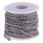 1 Roll Flat Round Stainless Steel Cable Chain DIY Craft Findings <b>Supplies</b> 12 Meters <b>Jewelry</b> <b>Supply</b>