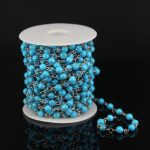 6mm Sky Blue Tur quoise Smooth Round Beads Rosary Chain Findings,Stainless Steel Wire Wrapped Link Necklace Chain <b>Jewelry</b> <b>Supply</b>