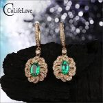 Vintage <b>silver</b> emerald drop <b>earrings</b> for party 4 mm * 6 mm natural emerald <b>earring</b> yellow gold color 925 <b>silver</b> emerald jewelry