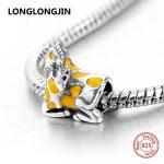 New Design Yellow Enamel Giraffe Beads Fit Pandora Charms Silver 925 Original Bracelet DIY Fine <b>Jewelry</b> accessories <b>supply</b> gifts