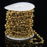 Gold Mystic Titanium Glass Faceted Rondelle Bead Chain,Rosary Chain Wire Wrapped Gems Chain of Fashion <b>Jewelry</b> Making <b>Supplies</b>