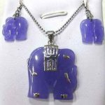 real Women's Wedding gem elephant earring & elephant pendant set>AAA GP Bridal wide watch wings silver-<b>jewelry</b>