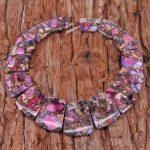 Synthetic Fushcia Sea Sediment Stones Top Drilled Slab Loose Beads Necklace Set Fashion <b>Jewelry</b> <b>Supplies</b> 17-35×25-30mm