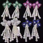 long tassels <b>earring</b> natural fresh water pearl drop <b>earring</b> 925 <b>sterling</b> <b>silver</b> with cubic zircon flower free shipping