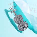 Aladdin Luxury fashion violin Brooches Classic Crystal Pins Alloy insert fiddle zircon shining Beautiful practical g