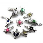 10pcs Silver Creative Mixed Design <b>Jewelry</b> Making <b>Supplies</b> Alloy Trendy Pearl Cage Locket Pendant Essential Oil 21634