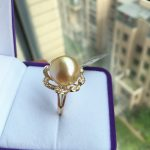Women Gift word 925 <b>Sterling</b> <b>silver</b> real Permanent natural seawater pearl <b>ring</b> 12-13 mm Nanyang Golden Circle to