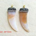 5PCS Tusk Horn Natural stone Pendants, Pave Rhinestone Crystal Zircon Caps,<b>Jewelry</b> necklace making <b>supplies</b> PD198