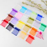 Behogar 100 PCS 4 x 6inch Reusable Elegant Organza Drawstring Candy Favor Bags Pouches for Wedding Party Festival Gift <b>Jewelry</b>
