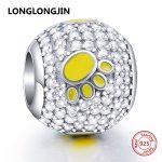 Genuine Fit pandora original Bracelet 925 Sterling Silver Enamel Yellow Dog Paw Charms Beads DIY Fine <b>Jewelry</b> accessories <b>supply</b>