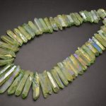 Apple Green Color Natural Rough Rock Crysta Point Stone Stick Loose Beads Fashion <b>Jewelry</b> making <b>supplies</b>