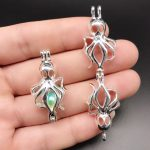 10pcs Bright Silver Octopus Pearl Cage <b>Jewelry</b> Making <b>Supplies</b> Beads Cage Locket Pendant Essential Oil Diffuser for Oyster Pearl