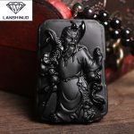 Counter genuine wholesale <b>supply</b> natural Matte Black Obsidian Pendant Necklace and son of Guan Gong evil <b>jewelry</b> Made in China