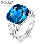 ROMAD Big Square Royal blue Glass Stone Rings Direct <b>Supply</b> Factory Wholesale Price Men and Women Model Classic Fashion <b>Jewelry</b>