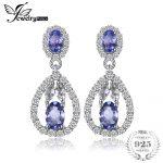 JewelryPalace Elegant 2.8ct Tanzanitess White Topazs Drop Dangle <b>Earrings</b> 925 <b>Sterling</b> <b>Silver</b> Jewelry Gift For Women Hot Salling