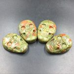 Unakite Skull Cabochon Natural Green&Pink Unakite Jasper Skull Carved Cabochon 25x35mm Crystal Skull <b>Jewelry</b> Cabochon <b>Supplies</b> G