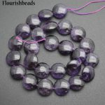 Wholesale High Quality Natural Amethyst 16mm Smooth Flat Round Coin Shape Stone Loose Beads <b>Jewelry</b> <b>Supplies</b>