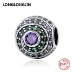 925 Sterling Silver Charms Beads with Green Purple CZ Fit Original Pandora Bracelet Pendant Fine DIY <b>Jewelry</b> Accessories <b>supply</b>