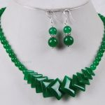 Prett Lovely Women's Wedding mujer brincos for <b>jewelry</b> Natural Green GEM Beads <b>Jewelry</b> Necklace Earrings Set AAA grade