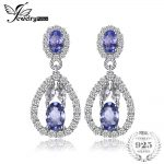 JewelryPalace Elegant 2.8ct Natural Tanzanites White Topazss Dangle <b>Earrings</b> 925 <b>Sterling</b> <b>Silver</b> Jewelry Party Gift For Women