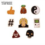 TAFREE 8 Pcs/set Game Machine Hi Five Thumbs-up Sign Lapel Pins Money Bag Skull Ying Yang Brooches For Collar Badge <b>Jewelry</b>