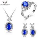 DOUBLE-R <b>Silver</b> 925 <b>Earrings</b> Ring Created Oval Sapphire Gemstone Pendant Necklace Zircon Women Wedding Jewelry Sets