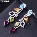 ZHHIRY Natural Blue Topaz Citrine Peridot Pyrope Gem Stone <b>Earring</b> Genuine 925 <b>Sterling</b> <b>Silver</b> Woman Colored Stone <b>Earrings</b>
