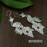 S999 <b>sterling</b> <b>silver</b> <b>earrings</b> Korean ladies long section tassel jewelry brushed Phoenix peacock <b>earrings</b>