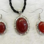 Prett Lovely Women's Wedding shipping> >>>>>Natural Vintage Look Red gem Pendant Necklace Earring <b>Jewelry</b> Sets silver-<b>jewelry</b>