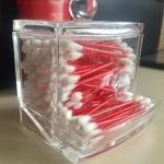 2017 Fashion Clear Acrylic Cotton Swab Organizer Box Cosmetic Holder Q-tip Makeup Storage Case Hotel <b>Supplies</b> size 9.6*9*8 cm