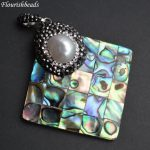 White Pearl Paved Natural Abalone Shell Square Shape Shape Big Pendant Fashion <b>Jewelry</b> Making <b>Supplies</b>