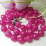 Noble 10mm Rose Chalcedony Round Beads Hand Made Neckalce Fashion <b>Jewelry</b> Making Design Natural Stone 18 inch Wholesale <b>Supply</b>